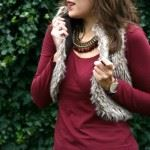 Outfit Bordeaux Fake Fur
