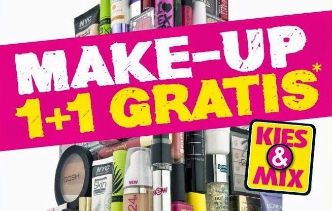 Kruidvat make-up 1+1 gratis actie woensdag 30 april