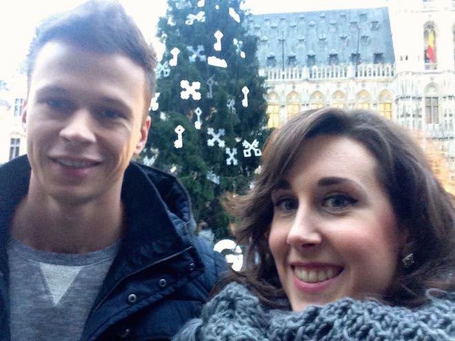 Brussel Grote Markt selfie kerstboom