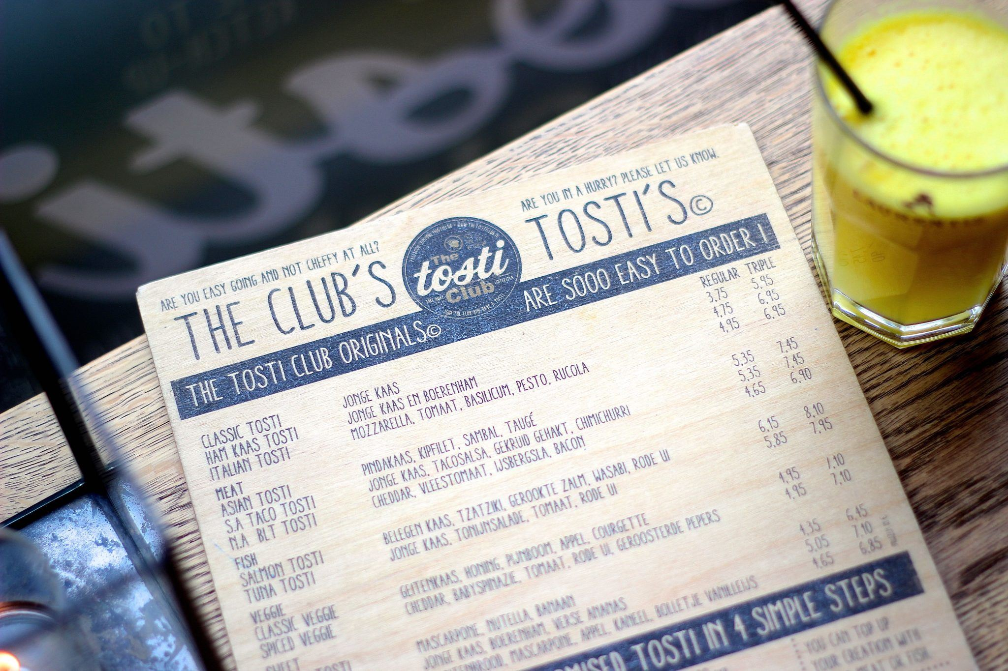 The Tosti Club Menu