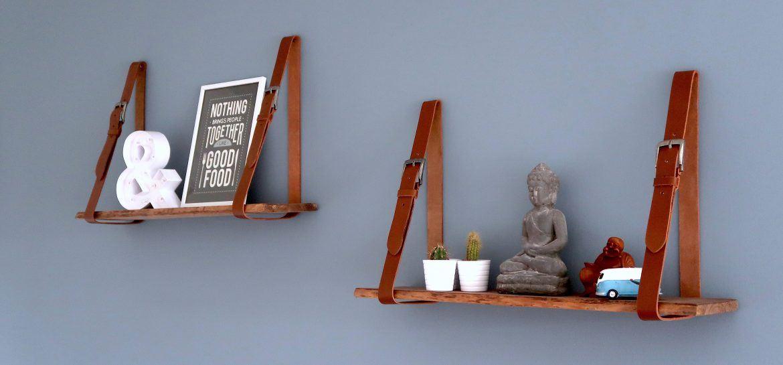 DIY Wandplank boomstam Riemen